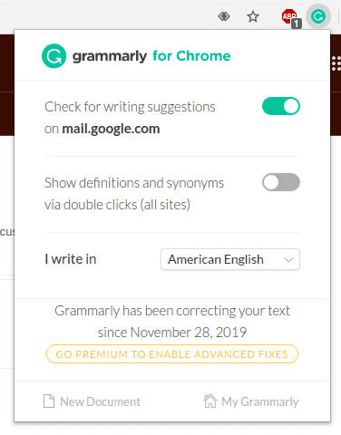 grammarly for chrome browser