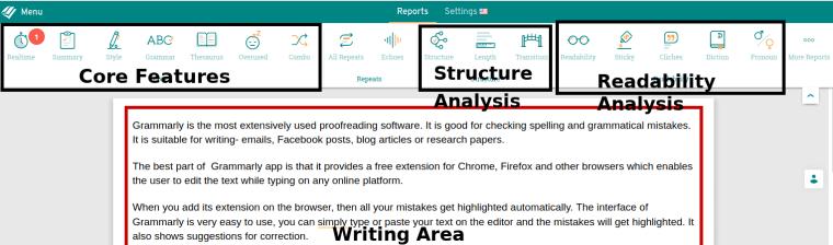 main work space of ProWritingAid