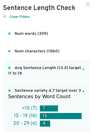 it produces very extensive sentence length report