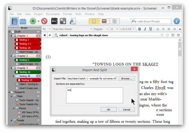 import feature in scrivener
