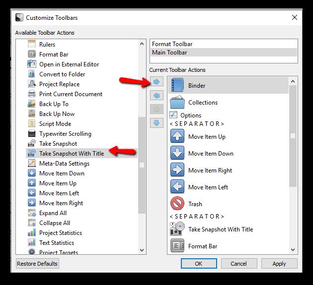 customize toolbar scrivener