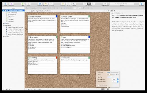 Corkboard of scrivener review