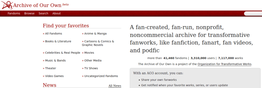 archive of our own is one of the best places to publish short stories online