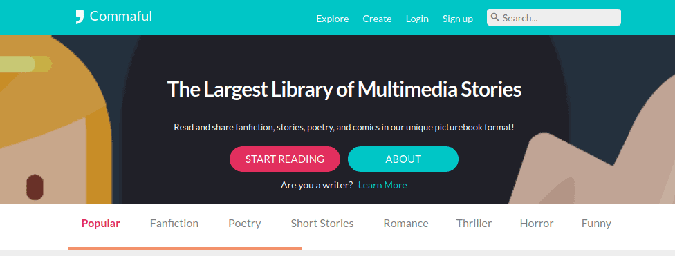 commaful is one of the best places to publish short stories online
