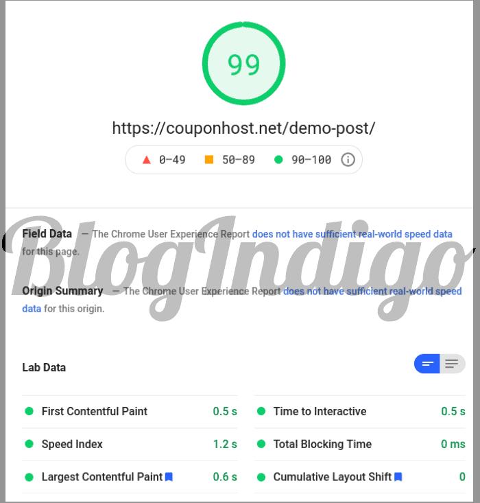 nestify Google PageSpeed insights
