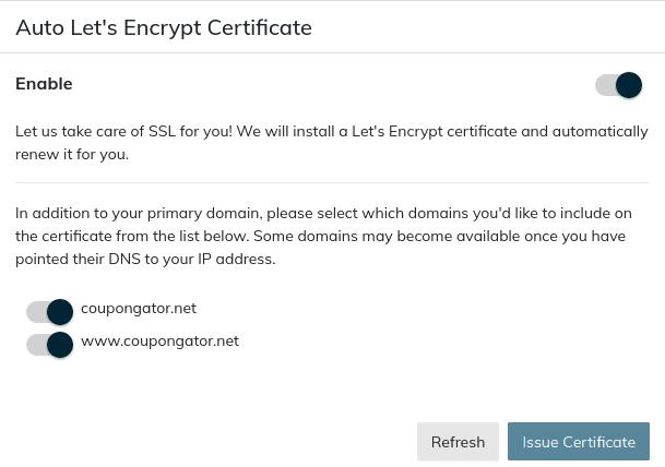 enable auto let's encrypt certificate