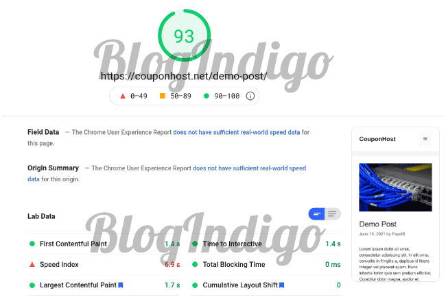 While reviewing themecloud, I tested the website performance with Google PageSpeed Insights