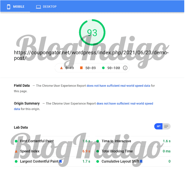 Google PageSpeed Insights score was 93 on mobile devices