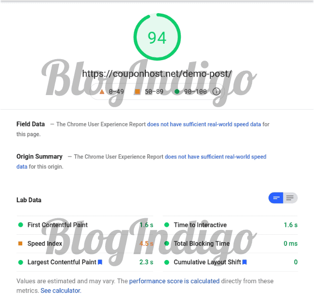 I have tested the performance of a website hosted on WPX with Google Pagespeed insights.