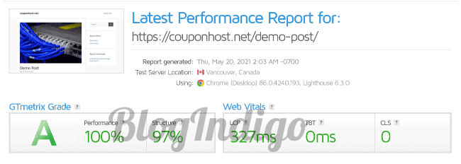 While writing this WPX hosting review, I tested its performance with GTmetrix
