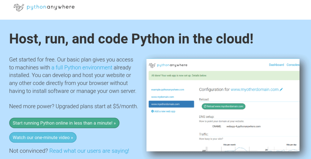 PythonAnywhere provides an Python exclusive platform for your Django apps