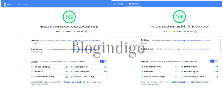 google pagespeed insights report of my website hosted on knownhost