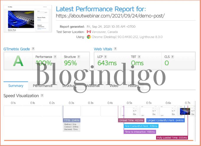 gtmetrix performance test report of my website